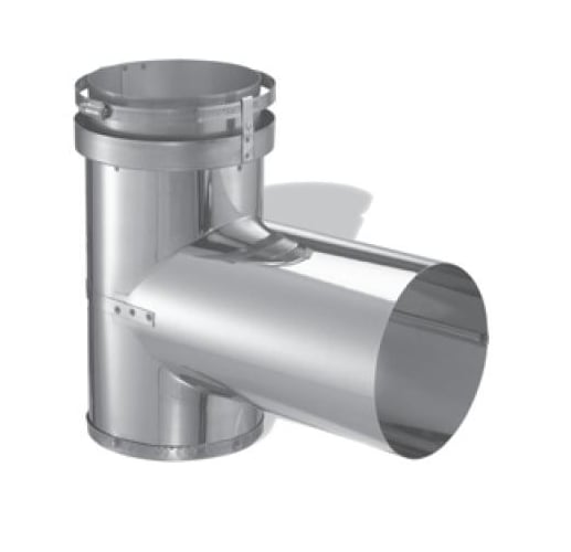 DuraVent 7DFS-T Stainless Steel Flexible Liner 7 Inner Diameter - DuraFlex SS Flexible Liner Chimney Pipe - Single Wall - Tee with Cap