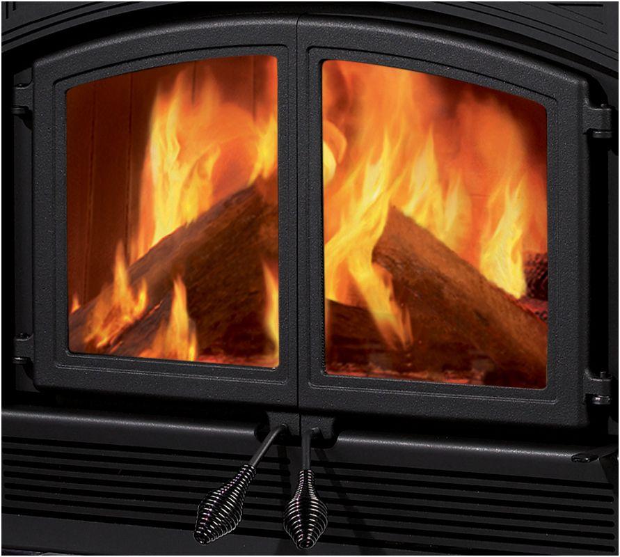 Metalbest Mer Dd B Black Cast Iron Ceramic Glass Double Fireplace Doors From The Merlot